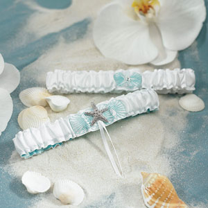 Starfish, beach wedding bridal garter