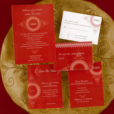 Example of invitation for Asian-theme wedding