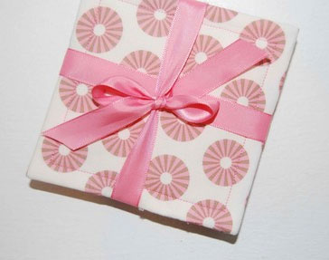 Pink fabric wedding coaster from Etsy