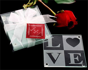 glass wedding coasters / favors