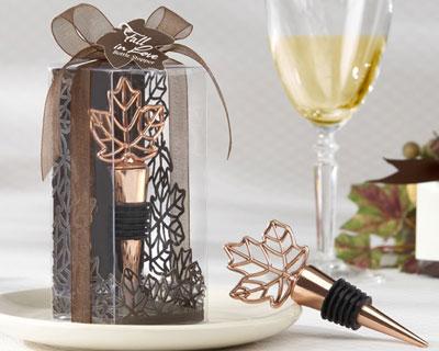 Fall-themed, copper bottle-stopper, wedding favour