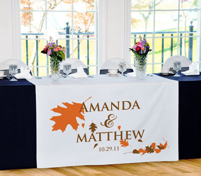 Wedding Table Runners on Personalised Fall Wedding Head Table Runner