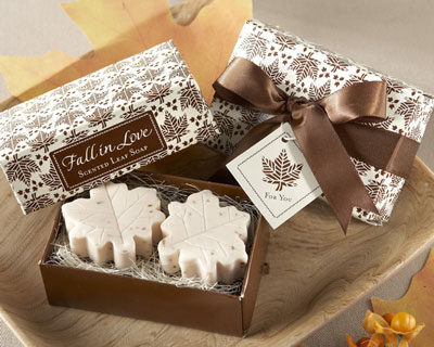 Fall-themed, scented soap wedding favours
