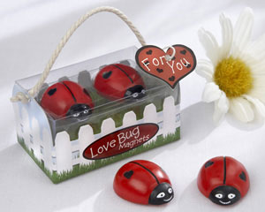 """Love Bug"" ladybug magnets: spring wedding favours from Kate Aspen"