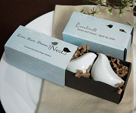 Love Bird Salt & Pepper Shakers, wedding favour