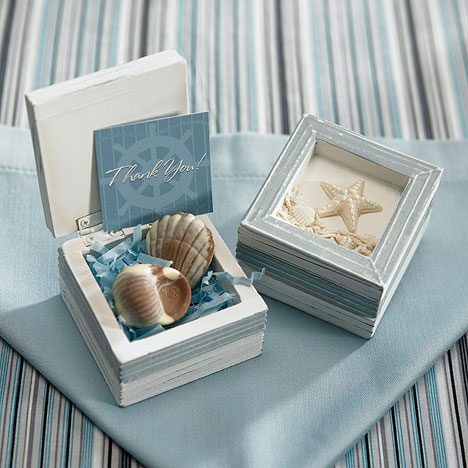 boxes and covering them with table linens ocean beach wedding favour