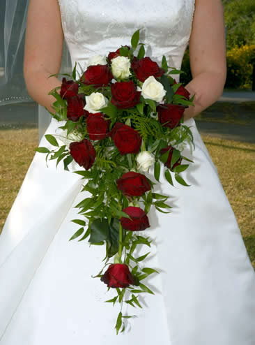 wedding flowers. Cascading ridal bouquet
