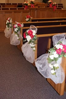 Wedding church flowers aisle decor