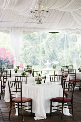 Elegant & subtle floral centerpieces on a white theme wedding reception