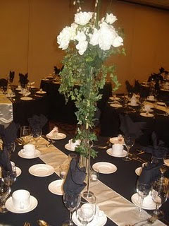 Tall & slip, floral wedding centerpiece