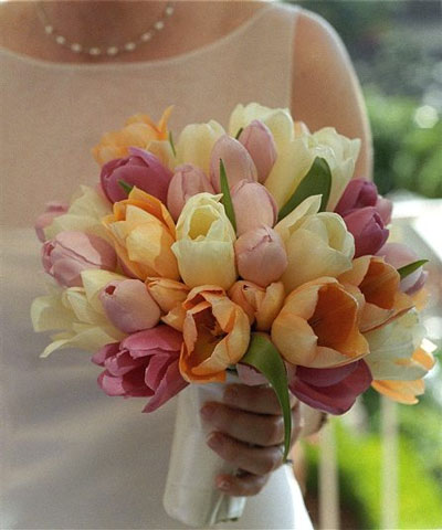Wedding Floweres on Spring Wedding Flowers  Multi Color Tulip Bridal Bouquet