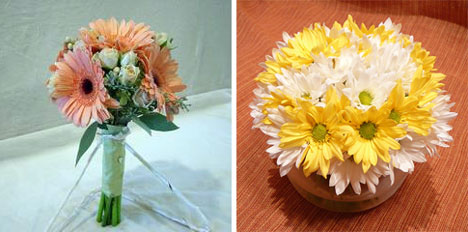 wedding daisies: bouquet & centerpiece