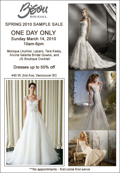 Wedding dress & bridal gown sample sale: Vancouver, Bisou Bridal