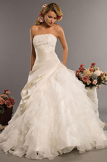 back and small chapel train Eden Bridals 2010 wedding gown style 2329