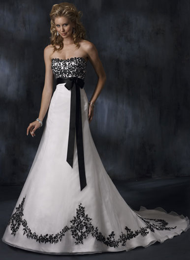 "For the bride who loves a bit of black accenting, the ""Anne Marie"" features"