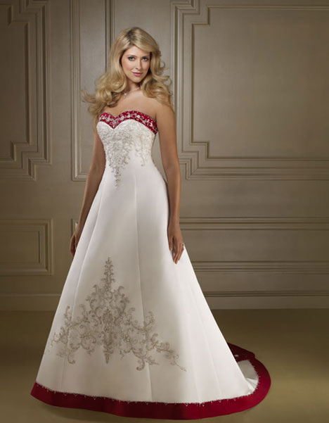 White Wedding Dresses with Red
