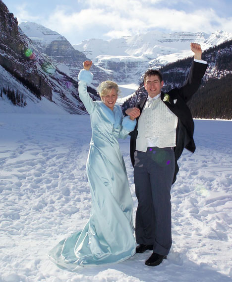 Winter wedding gown for an outdoor winter wedding in Lake Louise Alberta