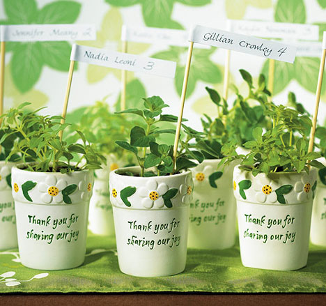 Perfect green favor for a summer wedding: mini-flower pots (or herb pots!)