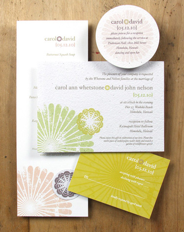 Plantable, green wedding invitation: Cherry Blossoms