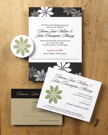 Plantable, green wedding invitation:  Gardenia