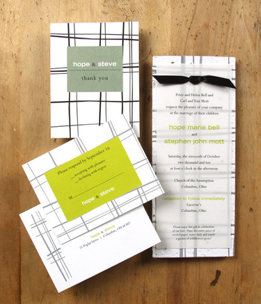 Plantable, green wedding invitation:  Thyme pattern