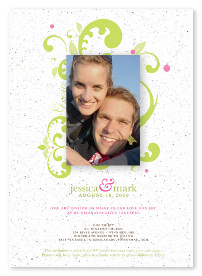 Plantable seed paper wedding invitation