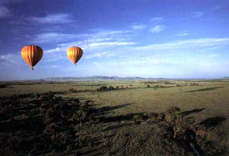 Hot-air balooning over the african savannah