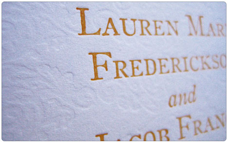 letterress embossing on a wedding invitation