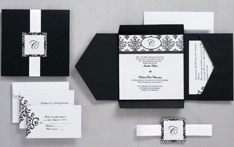DIY wedding invitations black pockets by Wilton