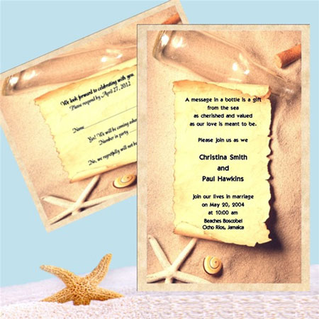 The paper invitation format inside the wedding invitation in a bottle