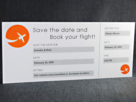 airline ticket, destination wedding save-the-date invitation