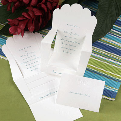 Beach wedding invitations, shaped like a lawn, deck chair