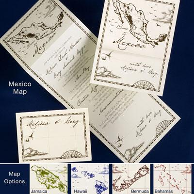 Maps on wedding invitations