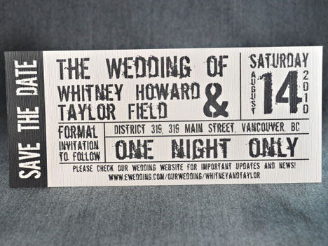 Theme wedding invitation concert ticket Daydream Weddings in Vancouver