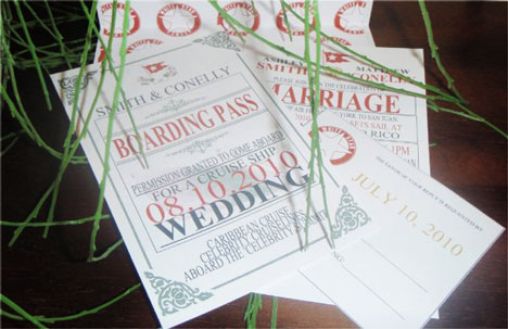 Cruiseship wedding invitations: Boarding Passes