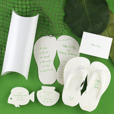Beach wedding themed stationary - flip-flops, sea-shells, fish..