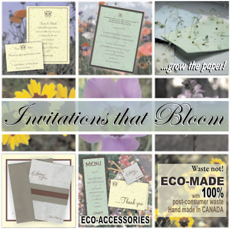 Love Bloom, plantable green wedding invitations