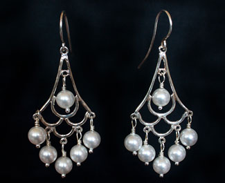 Bridal Jewllery: Silver & pearl chandelier earrings