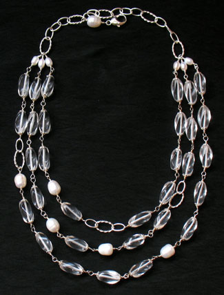Summer wedding jewelry: light crystal necklace