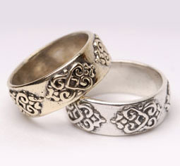 Double-lotus, heart wedding bands