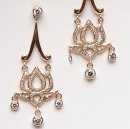 Lotus flower silver & gold earrings with diamonds