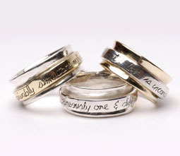 Spin mantra wedding rings by Sonja Picard