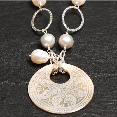wedding jewelry: Grey Baroque Pearl Necklace With Mother Of Pearl Pendant