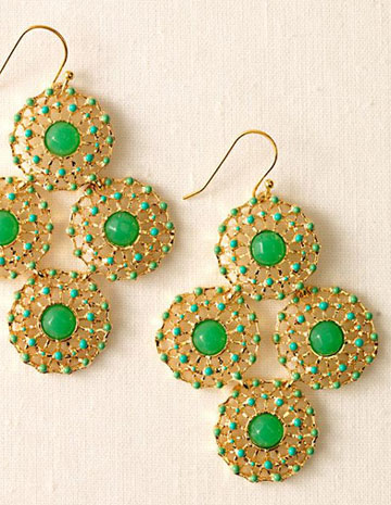 Bridesmaids Jewelry: Green & gold chandelier earrings