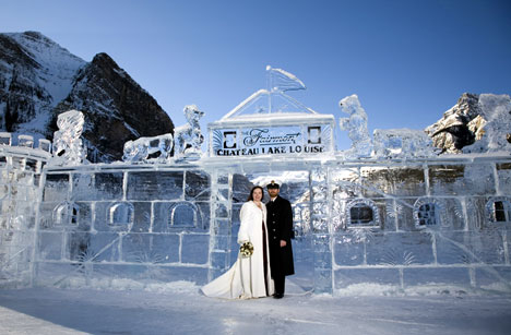 Wedding couple at the Ice Castle, Chateau Lake Louise, Alberta