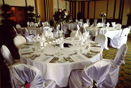 Wedding reception at Poets Cove ballroom