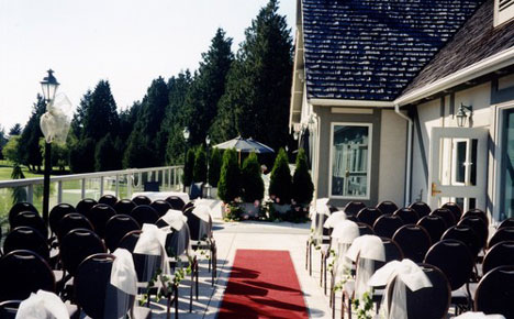 Outdoor wedding ceremony, on the patio of Vancouver's Marine Drive Golf Club