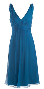Blue Dress on Blue Chiffon Mother Of The Bride Beach Outdoor Wedding Dress