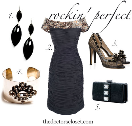 Styleboard: Classic black mother-of-the-bride dress ensemble