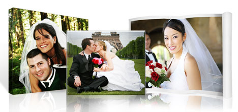 Art-size wedding photos on canvas